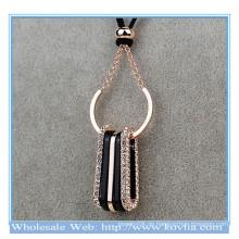 Top Verkauf 18k Gold U Form Kreis mit Kristall königlichen Gold Kostüm Halskette mit Seil