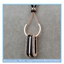 Top vente en or 18 carats en or en forme de cristal avec collier en cristal avec collier en or royal avec corde
