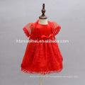 6 Monate rote Farbe Kleid Kleinkind bestickt Lace Blumen Kleid Casual Infant Mädchen Kleid mit Cappa