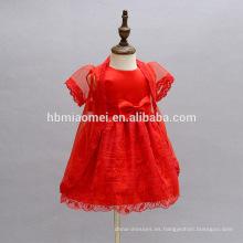 Vestido de niña de 6 meses de color rojo Vestido de niña de encaje bordado con cappa