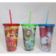 высокое качество красивые жесткие пластиковые чашки с соломкой