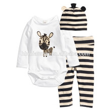 2016 de manga larga 100% algodón animal estampado bebé ropa de dibujos animados mameluco