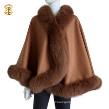High Quality Luxurious Lady's Cashmere and Fox Fur Trim Cape