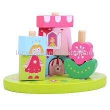 Prinzessin & Castle Blocks auf Säule Pädagogisches Spielzeug
