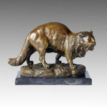 Animal Bronze Sculpture Cat Decoration Craft Brass Statue Tpal-126