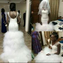 2017 La sirena elegante rebordeó el vestido trasero abierto del vestido de boda del cordón del cordón