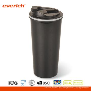 Caneca isolada de viagem de café com aço inoxidável de 16 oz com tampa de aleta