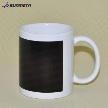 Sublimation White Mug With black Patch Color Changing
