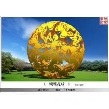 Large Modern Arts Abstract Stainless steel Butterfly Sphere Sculpture for garden decoration