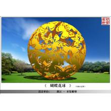 Grande, modernos, artes, abstratos, aço, aço, borboleta, esfera, escultura, jardim, decoração