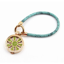 Fashion Leather Bracelet with Locket Charm