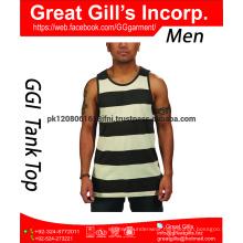 Custom Brand Printing Fitness Tank Top, 100% Cotton Man GYM Tank Top