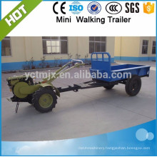 Dual wheels walking tractor trailer,mini lifiting power tipping trailer