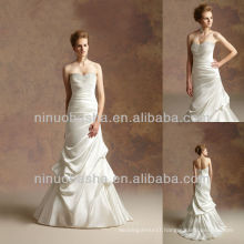 J-031 Satin Ruches Wedding Dress 2012 Sheath Ball Gown Bridal Dress Prom Gown