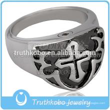 2017 Wholesale Stainless Steel Jewelry Cremation Ash Urn Keepsake Ring Cremation Urn Enamel Black Cross Ring