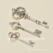 antique silver key charm key chain