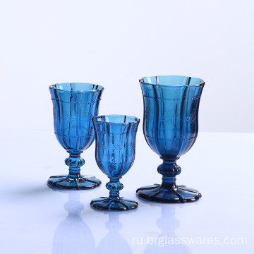 Dark Blue Glass Goblet with Chinese Knot Pattern Design