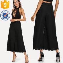 Scallop Flare Hem Calças Fabricação Atacado Moda Feminina Vestuário (TA3095P)