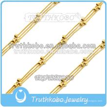 Venta al por mayor 18 K chapado en oro cuentas de rosario de acero inoxidable pulsera de oro encanto pulsera joyería