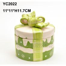 Pintado a mano de cerámica redonda cajas de regalo de Navidad