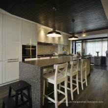 Gabinete de cozinha com design de móveis de cozinha folheado de madeira