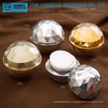 YJ-OD série luxe 15g 30g 50g boule forme diamant acrylique pot de crème