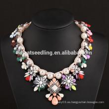 2015 collar de boda nupcial de la India de la manera de la flor de la perla