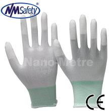NMsafety dedo revestido pu luvas de segurança de trabalho
