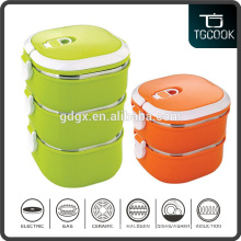 Bento box stackable colorful stainless steel and plastic tiffin lunch box