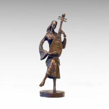 Statue de l'Est Traditionnel Lute Musicien Bronze Sculpture Tple-043