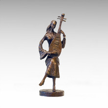 Eastern Statue Traditional Lute Musician Bronze Sculpture Tple-043