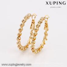 29372 brincos de argola jóias elegantes 18k brincos de liga de cobre banhado a ouro para atacado