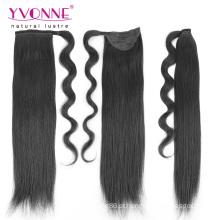 Rabos de cavalo naturais da cor do cabelo humano para mulheres negras