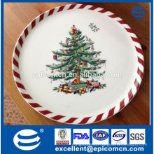 christmas tree decoration ceramic flat pizza plate for christmas