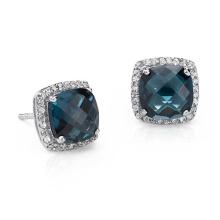 Blue Topaz Halo Stud Earrings em prata esterlina (8X8mm)