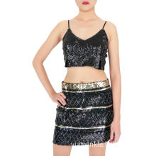 Black Mini Sequin Skirt