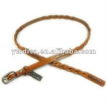 Cinturón de cuero trenzado estrecho Cinturón de cuero