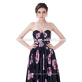 Strapless Backless Black Silk Printed Flower Satin Ball Gown Train Sexy Wedding Dress