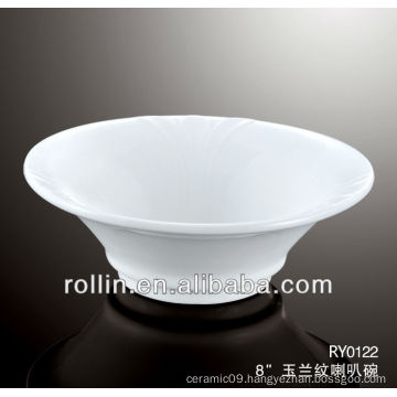 """8"""" Chinese crockery horn bowl with orchid vein decoration"""
