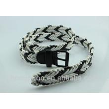 Чёрно-белые смешанные кожаные ремни ручной вязки для мужчин