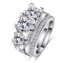 White Gold Diamond Wedding Jewelry Rings Sets (CRI0513-B)