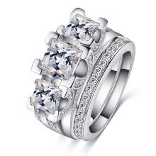 Conjuntos de anéis de jóias de casamento de diamante de ouro branco (CRI0513-B)