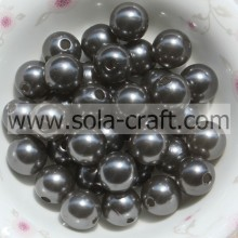 Gray Plastic Pearl Beads With Hole Craft Ball Solid Imitation Beads 6MM