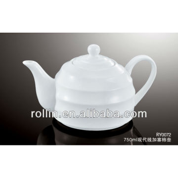 Guangzhou hotel and restaurant supplier white modern lines decoration crockery tea pot