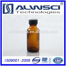 China Supplier mini Amber Boston Frasco de vidro redondo com cortiça