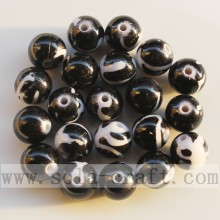 Factory made hot-sale for plastic pearl beads Fashion Jet Printed Round Beads Necklace Beads export to China Macau Supplier