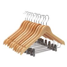 High Grade Wooden Suit Hangers Skirt Hangers with Clips 20 Pack Swivel Hook