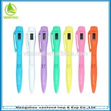 Venda quente plástico caneta com relógio para presentes do escritório