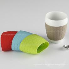Luva reusável personalizada costume do copo de café do silicone