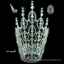 chinese hair accessories silver plated full crystal tall pageant tiara crown